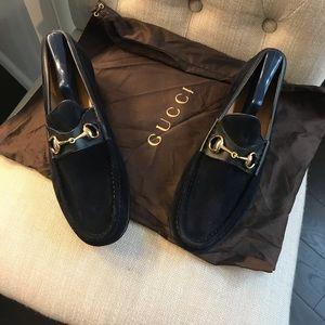 Men's Gucci blue suede shoes